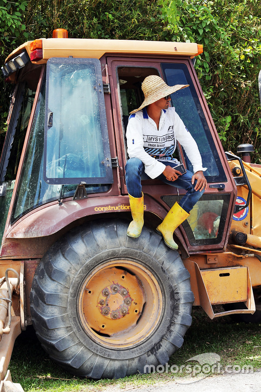 A marshal with a tractor