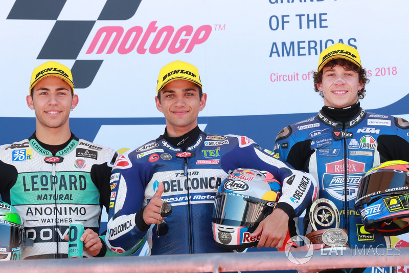 Podium: second place Enea Bastianini, Leopard Racing, Race winner Jorge Martin, Del Conca Gresini Racing Moto3, third place Marco Bezzecchi, Prüstel GP