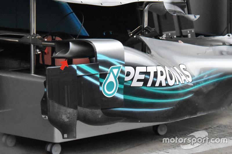 Les pontons de la Mercedes AMG F1 W09