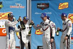 #66 Chip Ganassi Racing Ford GT, GTLM: Dirk Müller, Joey Hand, podium, champagne, #911 Porsche Team North America Porsche 911 RSR, GTLM: Patrick Pilet, Nick Tandy, #3 Corvette Racing Chevrolet Corvette C7.R, GTLM: Antonio Garcia, Jan Magnussen