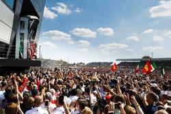 Sebastian Vettel, Ferrari, celebrates on the podium