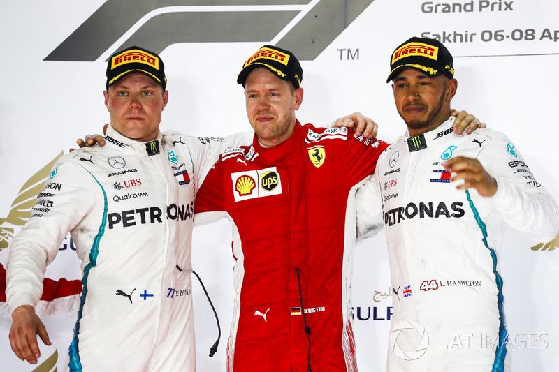 2018: 1. Sebastian Vettel, 2. Valtteri Bottas, 3. Lewis Hamilton