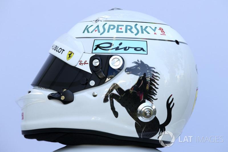Le casque de Sebastian Vettel, Ferrari