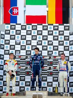 Podio Gara 1: il vincitore della gara Giacomo Altoè, il secondo classificato Mato Homola, il terzo c