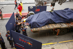 The Red Bull Racing RB14 of Max Verstappen returning to the pits