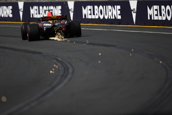 Sparks fly from the car of Max Verstappen, Red Bull Racing RB13