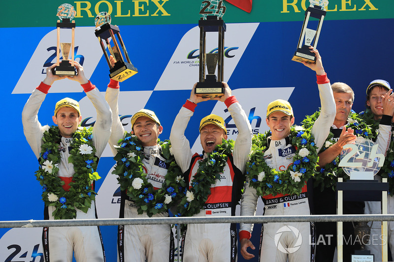 7. Podium: second place Ho-Pin Tung, Oliver Jarvis, Thomas Laurent, DC Racing