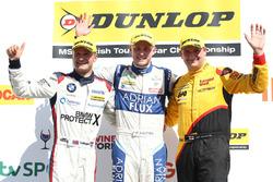 Podium: winner Ashley Sutton, second place Colin Turkington, third place Mat Jackson
