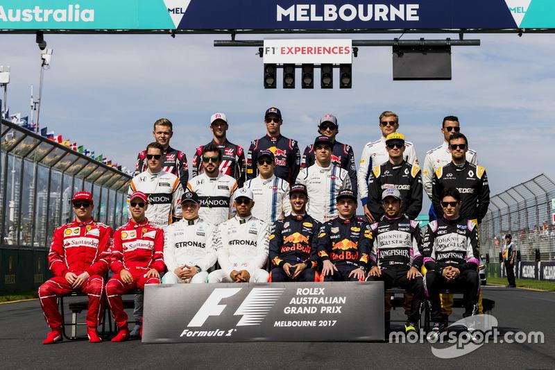 Gruppenfoto: Formel-1-Fahrer 2017
