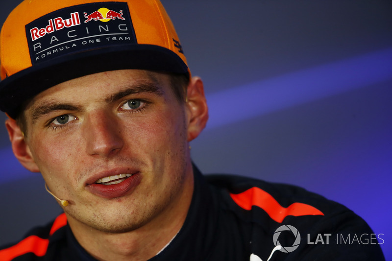 Max Verstappen, Red Bull Racing, in the post race press conference