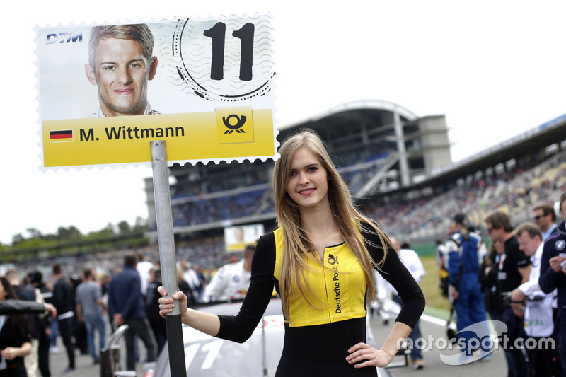 Grid girl of Marco Wittmann, BMW Team RMG, BMW M4 DTM