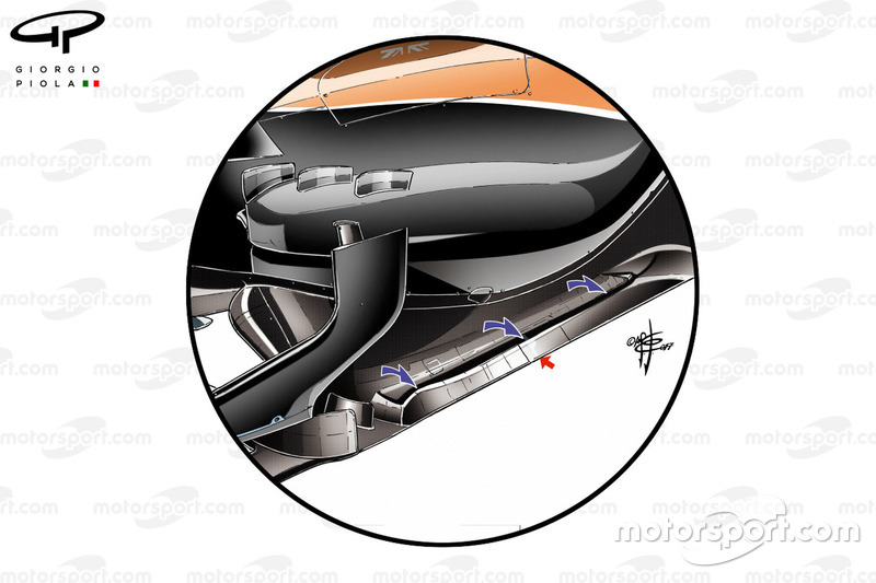 McLaren MCL32 floor details, captioned