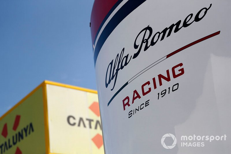 Alfa Romeo Racing logo on the motorhome