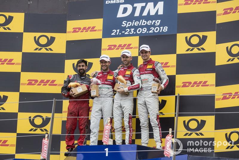 Podium: Race winner René Rast, Audi Sport Team Rosberg, second place Mike Rockenfeller, Audi Sport Team Phoenix and third place Nico Müller, Audi Sport Team Abt Sportsline