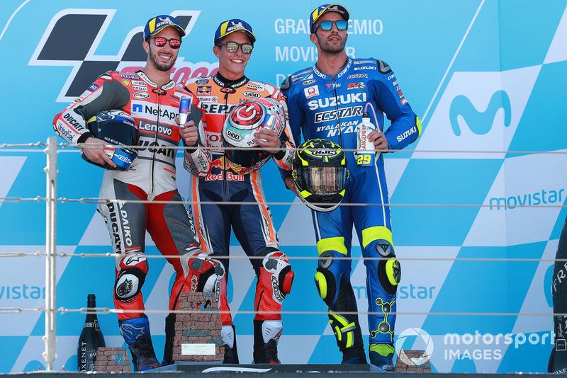 (Ki-ka): Andrea Dovizioso, Ducati Team, Marc Marquez, Repsol Honda, Andrea Iannone, Team Suzuki MotoGP