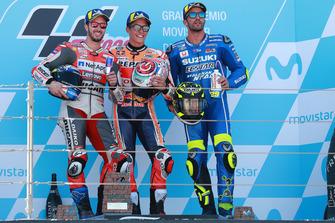 Podium: Winnaar Marc Marquez, Repsol Honda Team, nummer twee Andrea Dovizioso, Ducati Team, nummer drie Andrea Iannone, Team Suzuki MotoGP