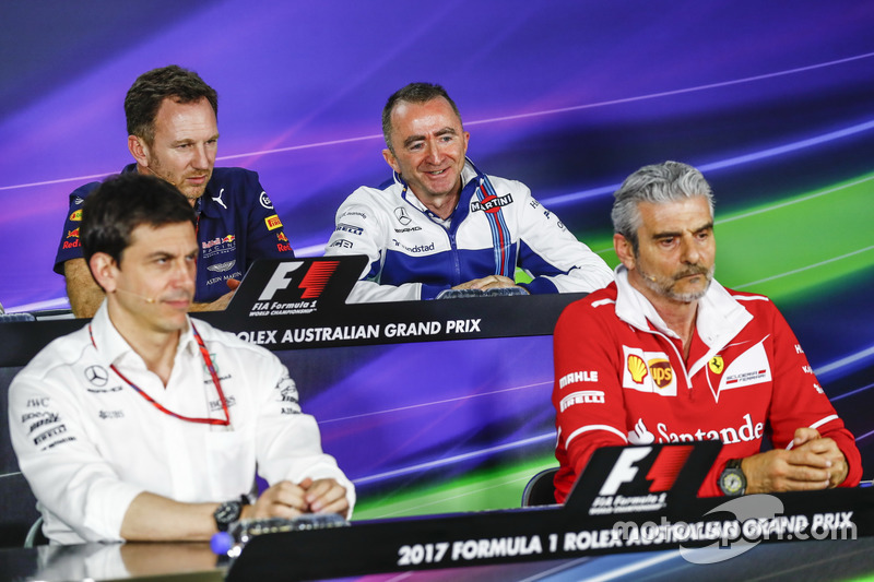 Pressekonferenz: Toto Wolff, Mercedes; Christian Horner, Red Bull Racing; Paddy Lowe, Williams; Maur