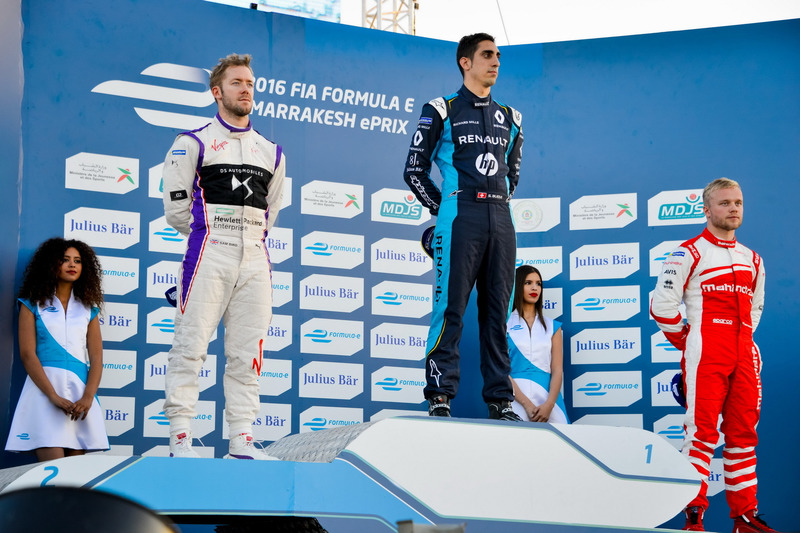 Podium: Race winner Sébastien Buemi, Renault e.Dams; second place Sam Bird, DS Virgin Racing; third place Felix Rosenqvist, Mahindra Racing