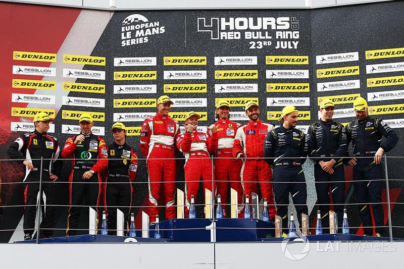 GTE Podio: Ganador de la carrera #55 Spirit of Race, Ferrari F488 GTE: Duncan Cameron, Matt Griffin, Aaron Scott, segundo lugar #66 JMW Motorsport, Ferrari F458 Italia: Robert Smith, Rory Butcher, Jody Fannin, tercer lugar #90 TF Sport, Aston Martin V8 Vantage: Salih Yoluc, Euan Hankey, Nicki Thiim