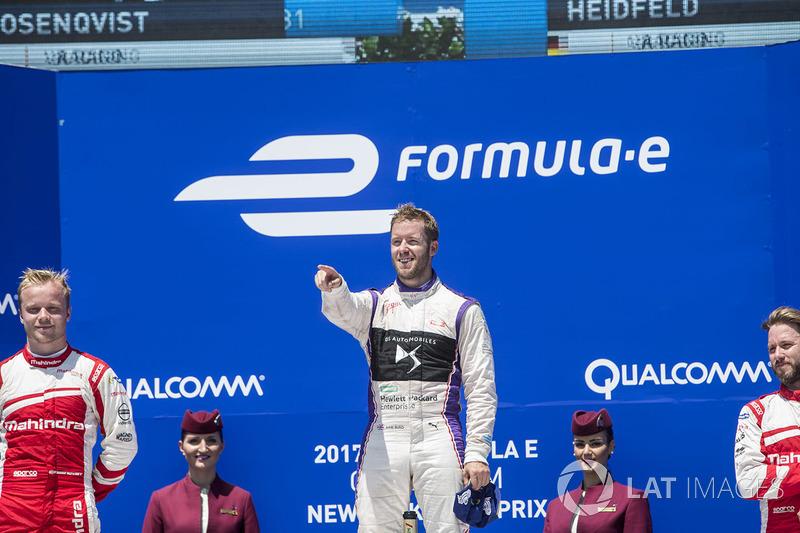 Podio: ganador Sam Bird, DS Virgin Racing, segundo lugar Felix Rosenqvist, Mahindra Racing,y tercer lugar Nick Heidfeld, Mahindra Racing
