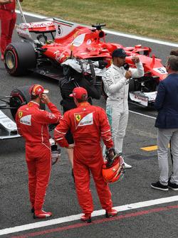 Sebastian Vettel, Ferrari and Kimi Raikkonen, Ferrari watch pole sitter Lewis Hamilton, Mercedes AMG F1 talks, Jenson Button, McLaren in parc ferme  in parc ferme
