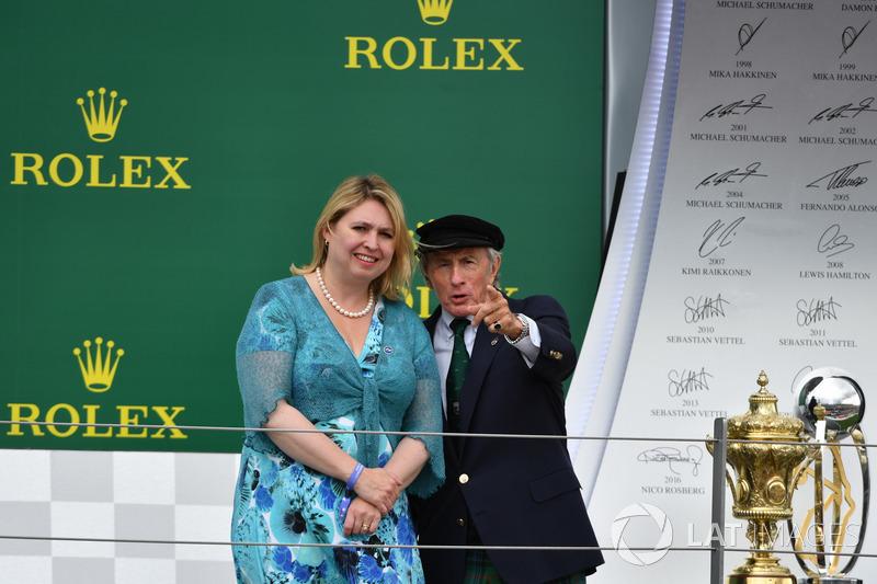 Karen Bradley MP, Secretario de estado de cultura, medios de comunicación y deporte, Jackie Stewart,