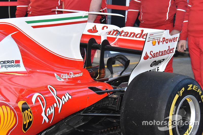 Détails de l'aileron arrière de la Ferrari SF70H