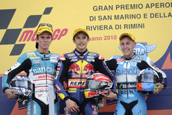 Podium: second place Nicolás Terol, Race winner Marc Marquez, third place Efrén Vázquez