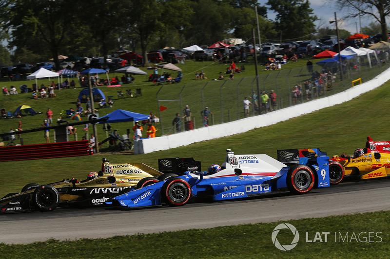 James Hinchcliffe, Schmidt Peterson Motorsports Honda, Scott Dixon, Chip Ganassi Racing Honda