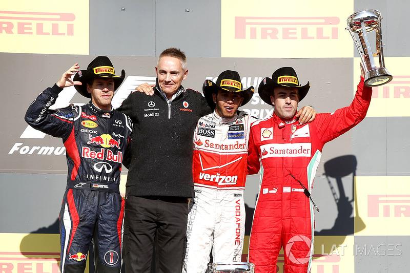 2012: 1. Lewis Hamilton, 2. Sebastian Vettel, 3. Fernando Alonso