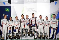 Podium: race winners Sébastien Buemi, Anthony Davidson, Kazuki Nakajima, Toyota Gazoo Racing, second place Timo Bernhard, Earl Bamber, Brendon Hartley, Porsche Team, third place Neel Jani, Andre Lotterer, Nick Tandy, Porsche Team