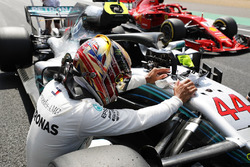 Lewis Hamilton, Mercedes AMG F1 W09, celebrates after taking pole position