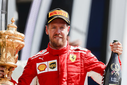 Sebastian Vettel, Ferrari, celebrates on the podium