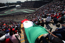 Fans with Mexican flag in the grandstand