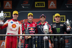 Podium: race winner Jamie Whincup, Triple Eight Race Engineering Holden, second place Scott McLaughlin, Team Penske Ford, third place Cameron Waters, Prodrive Racing Australia Ford