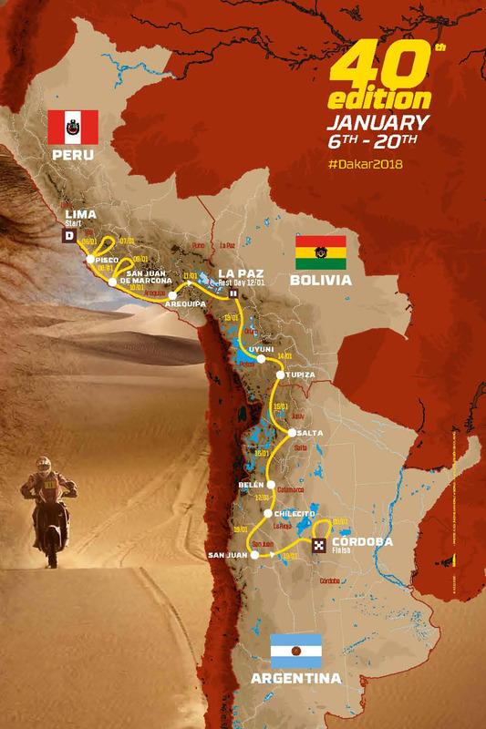 The 2018 Dakar route