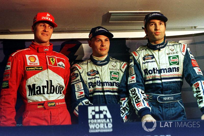 Jacques Villeneuve, Williams, Michael Schumacher, Ferrari, Heinz-Harald Frentzen, Williams tamamen aynı süreye imza atıyor