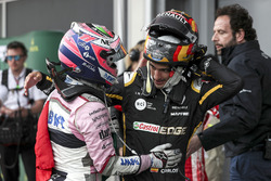 Third place Sergio Perez, Force India and Carlos Sainz Jr., Renault Sport F1 Team celebrate in parc ferme