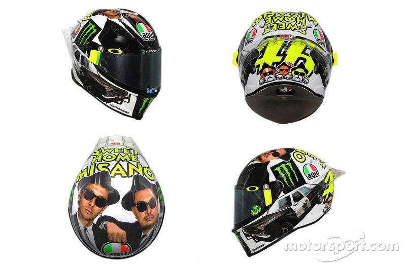 Helm von Valentino Rossi, Yamaha Factory Racing, im Design der Blues Brothers