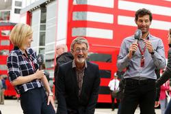 (L to R): Susie Wolff, Channel 4 Expert Analyst with Eddie Jordan, and Mark Webber, Porsche Team WEC Driver / Channel 4 Presenter