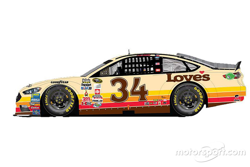 Chris Buescher, Front Row Motorsports Ford special throwback scheme