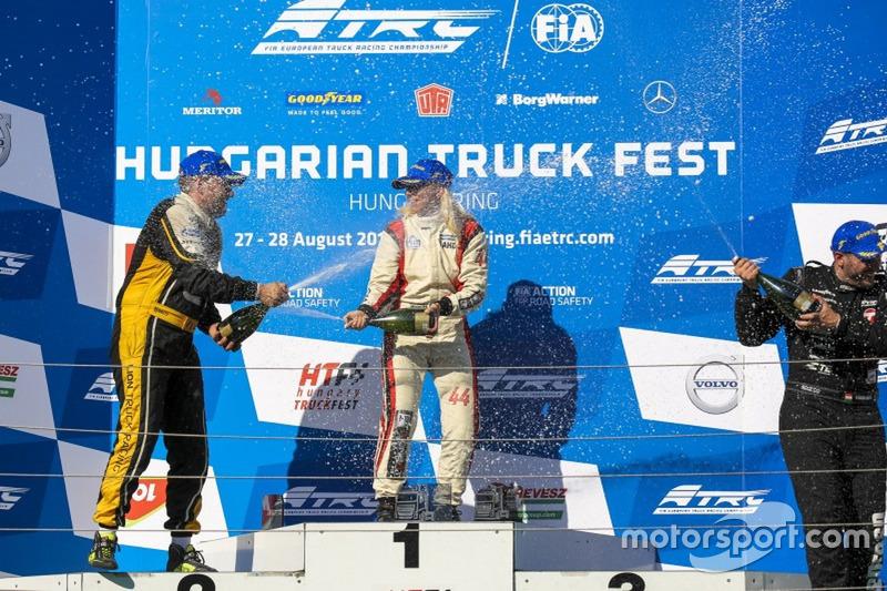 Podium: Winner Steffi Halm, MAN, second place Anthony Janiec, MAN; third place Norbert Kiss, Mercedes-Benz