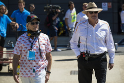 Actor Michael Douglas with Mansour Ojjeh, co-owner, McLaren
