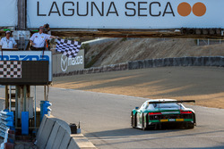 #29 Land-Motorsport Audi R8: Connor de Phillippi, Christopher Mies, Christopher Haase takes the checkered flag