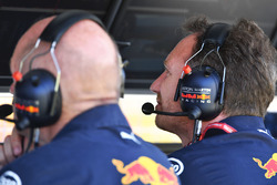 Christian Horner, Red Bull Racing Team Principal on the Red Bull Racing pit wall gantry