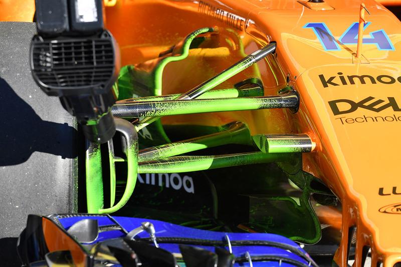 McLaren MCL33 front suspension detail with aero paint