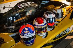 Helmets of Frits van Eerd, Giedo van der Garde, Jan Lammers and Nyck de Vries, Racing Team Nederland