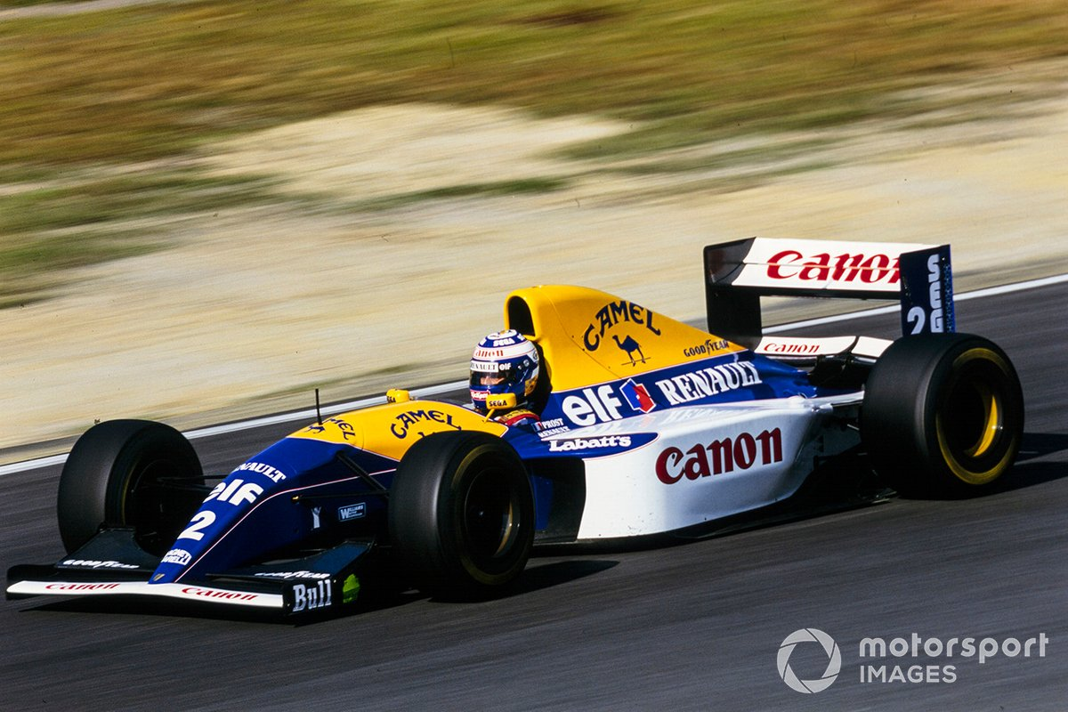 Alain Prost during the 1993 Japanese GP in his Williams FW15C Renault when he scored the fastest lap of the race.