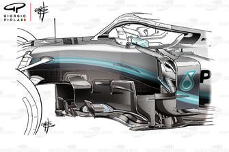 Mercedes AMG F1 W10 old barge board