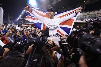Lewis Hamilton, Mercedes AMG, celebrates championship victory
